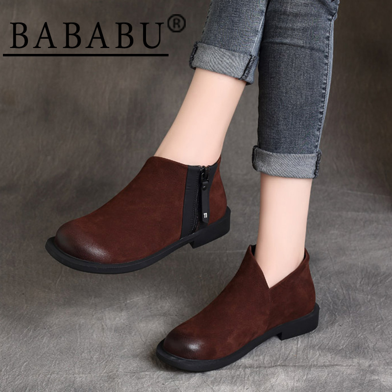 Новинка 2019 года; сезон осень зима; красивые кожаные ботинки в стиле ретро на плоской подошве с круглым носком и ремешком в британском стиле; ...
