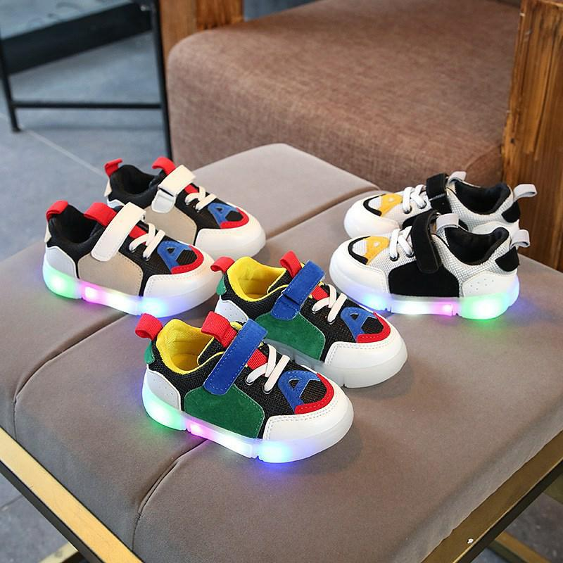 Spring Children Led Luminous Light Shoes Boys Girls Sports Running Shoes Glowing Kids Sneakers Flashing Lights Baby Soft Shoes