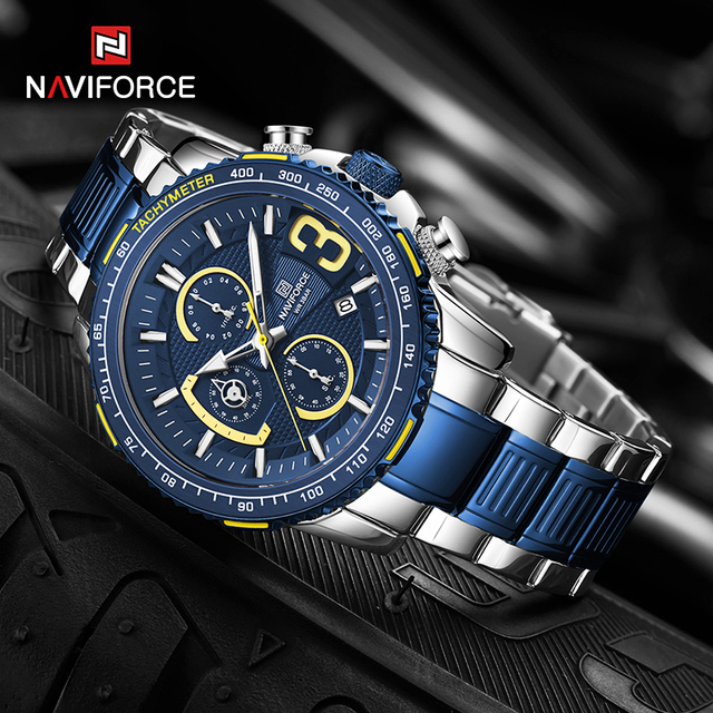 NAVIFORCE Mens Quartz Multifunction Chronograph Sports Watches Fashion Waterproof Military Top Luxury Stainless Steel Wristwatch 5