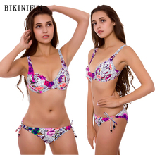 New Rose Print Bikini Women Swimsuit Plus Size Underwire Bathing Suit M-3XL Girl Adjustable Straps Swimwear Side Tie Bikini Set ring linked adjustable straps bikini set