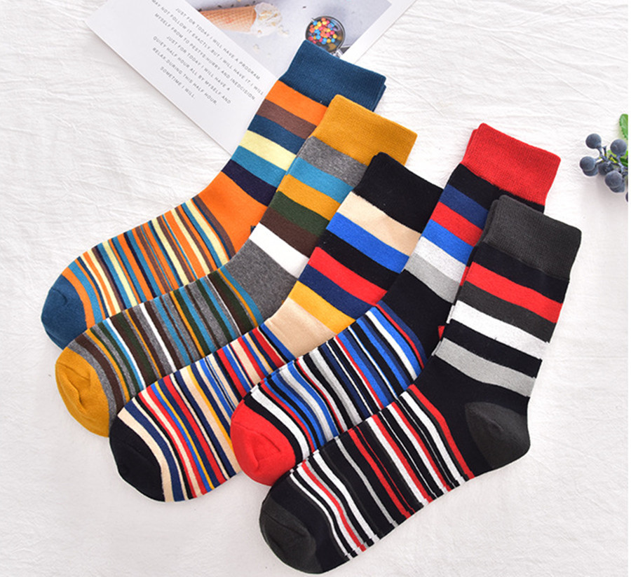 Men's Autumn And Winter Fashion Socks European And American Personality Stripe Couple Socks Cotton Long Tube Socks