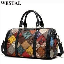 WESTAL Mini Women Travel Bag Genuine Leather Overnight