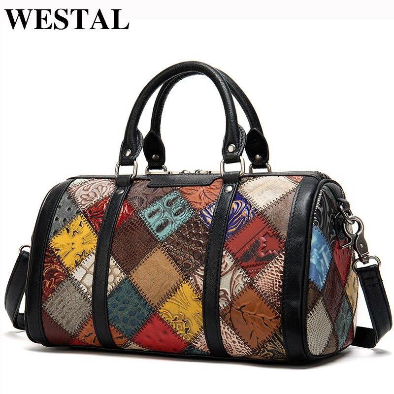 WESTAL Mini femmes sac de voyage en cuir véritable sacs de nuit valises et sacs de voyage sacs de sport/week-end petites valises 100