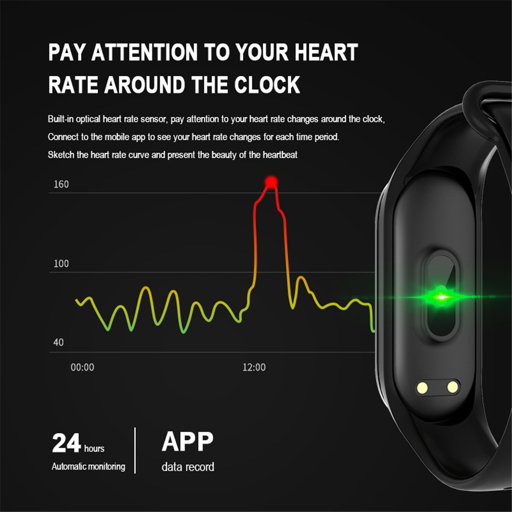 M4 Color Screen Smart Wristband Heart Rate Monitor Fitness Activity Tracker Smart Band Blood Pressure Music Remote Control-3