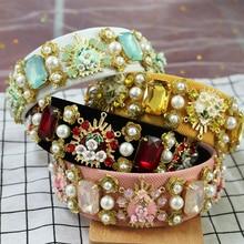 Vintage Baroque Headband Resin Love Multicolor Crystal Pearl Tiara Crown metal flower Headdress Wedding Hair Accessories Jewelry