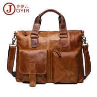 Joyir bolsa de couro genuíno dos homens maletas dos homens saco do mensageiro do sexo masculino computador portátil sacos crossbody bolsa