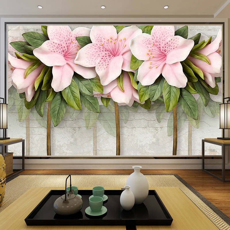 8d Stereo Relief Pink Flower Leaves Brick Wall TV Backdrop Hotel Sofa Bedroom Entrance Wallpaper
