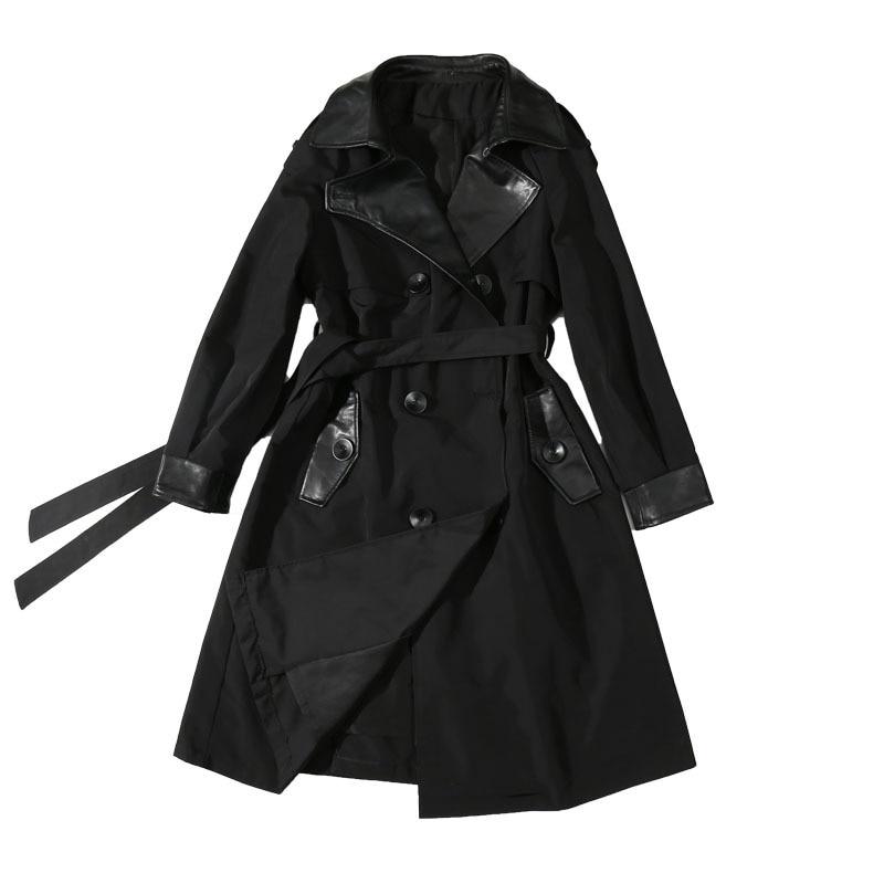 Genuine Leather Sheepskin Coat Lady High Quality Free Wash Leather Jacket Plus Size Belt Coat Long With Cotton Overcoat.