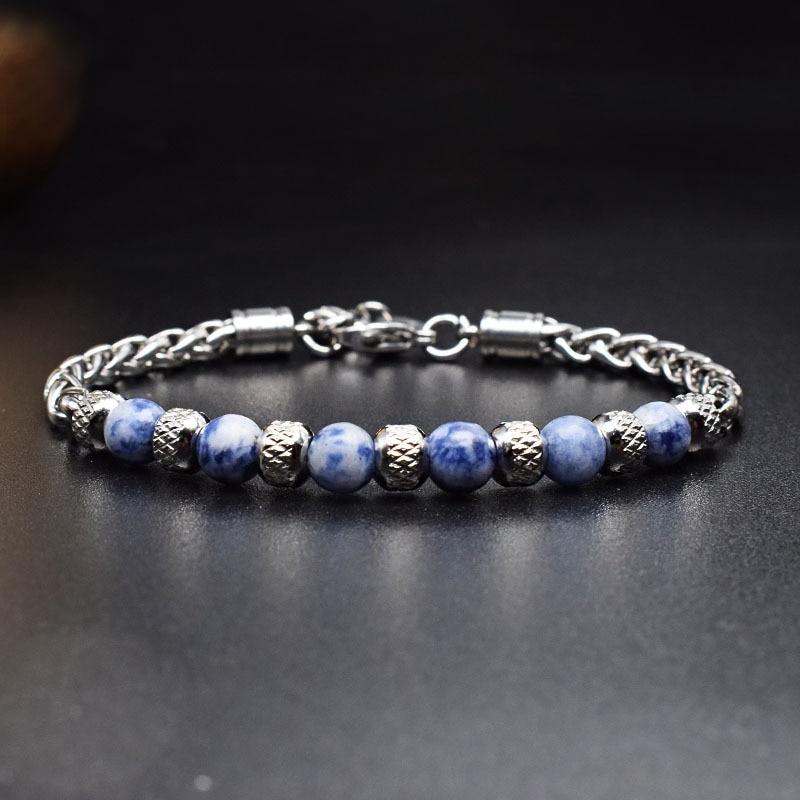 New 2021 6MM Adjustable Unique Natural Tiger Eye Stone Men's Beaded Bracelet Stainless Steel Cuban Link Chain Bracelets