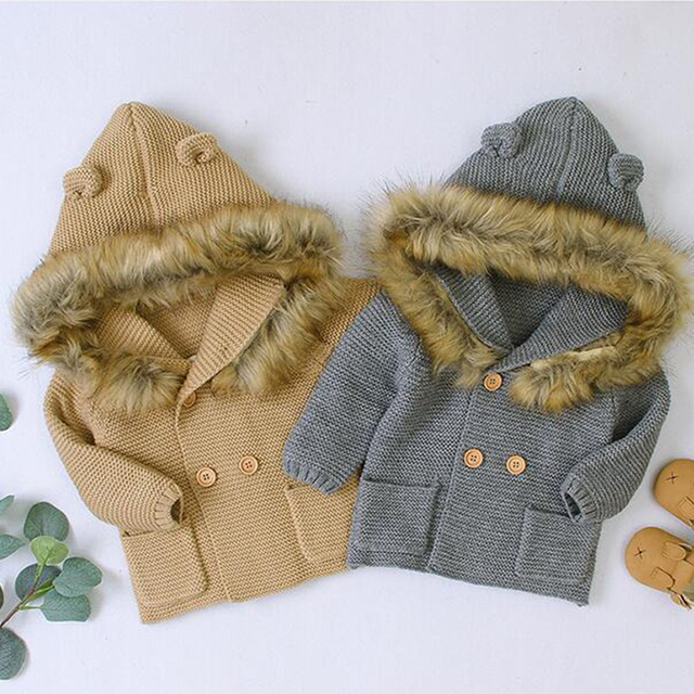 2020 New Winter Baby Boys Girls Knitted Cardigan Jackets Autumn Warm Infant Baby Fur Hooded Sweaters Kids Long Sleeve Coat 2