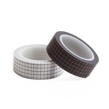 2 PCS Washi Tape Black White Grid Masking Adhesive Tapes Stickers Decorative Stationery JA55