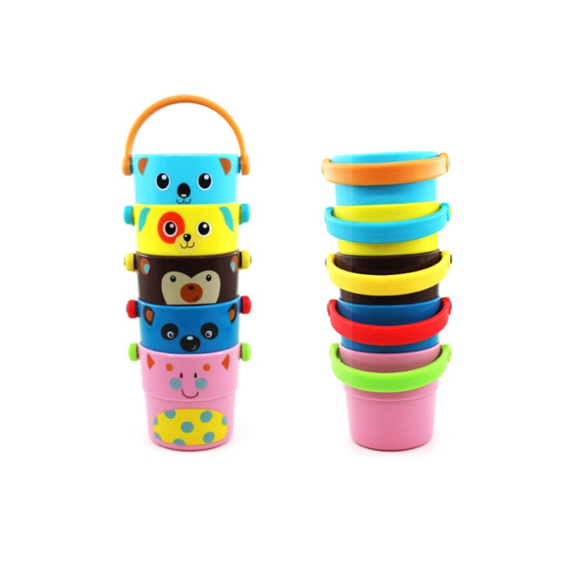Children Baby Shower Toys Pouring Cup Flow Style Bucket Water Spray Tool Cute Cartoon Animal Children's Toy Gift Y4QA