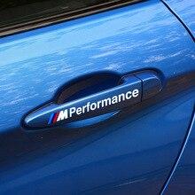 цена на 4pcs Sports Performance Car Door Handle Stickers Decals Accessories for BMW X1 X3 X4 X5 X6 M1 M2 M3 M5 M6 1 3 5series