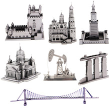 Playground building 3d metal puzzle montanha russa viking perfuração bem modelo kits montar quebra-cabeça brinquedos de presente para crianças