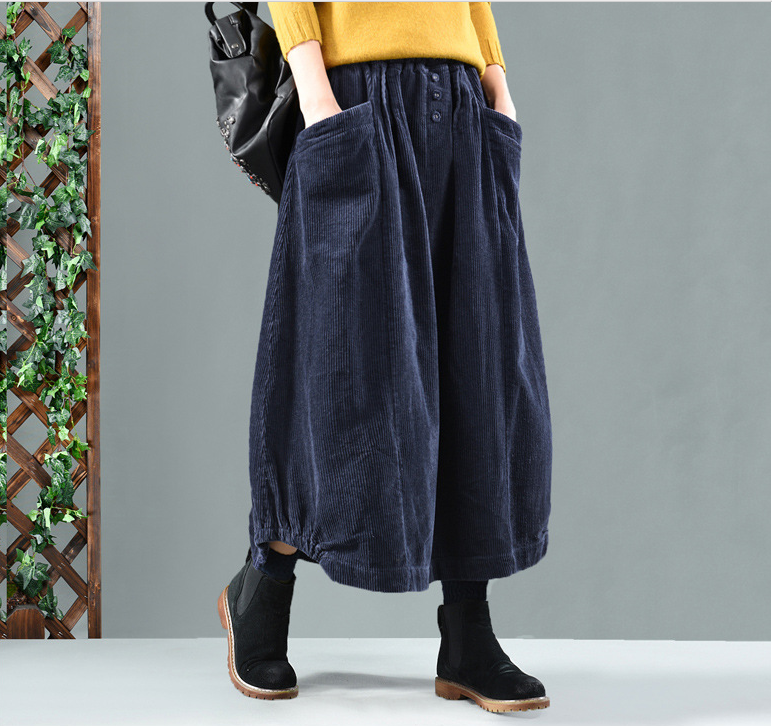 Spring Autumn  Loose Pocket Button Solid Color Solid Color Casual Ladies Bud Skirt 2019 Skirt Retro Women Elastic Waist Skirt