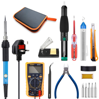 Temperature Electric Soldering Iron Kit 110V 220V 60W kit With Multimeter Desoldeirng Pump Welding Tool