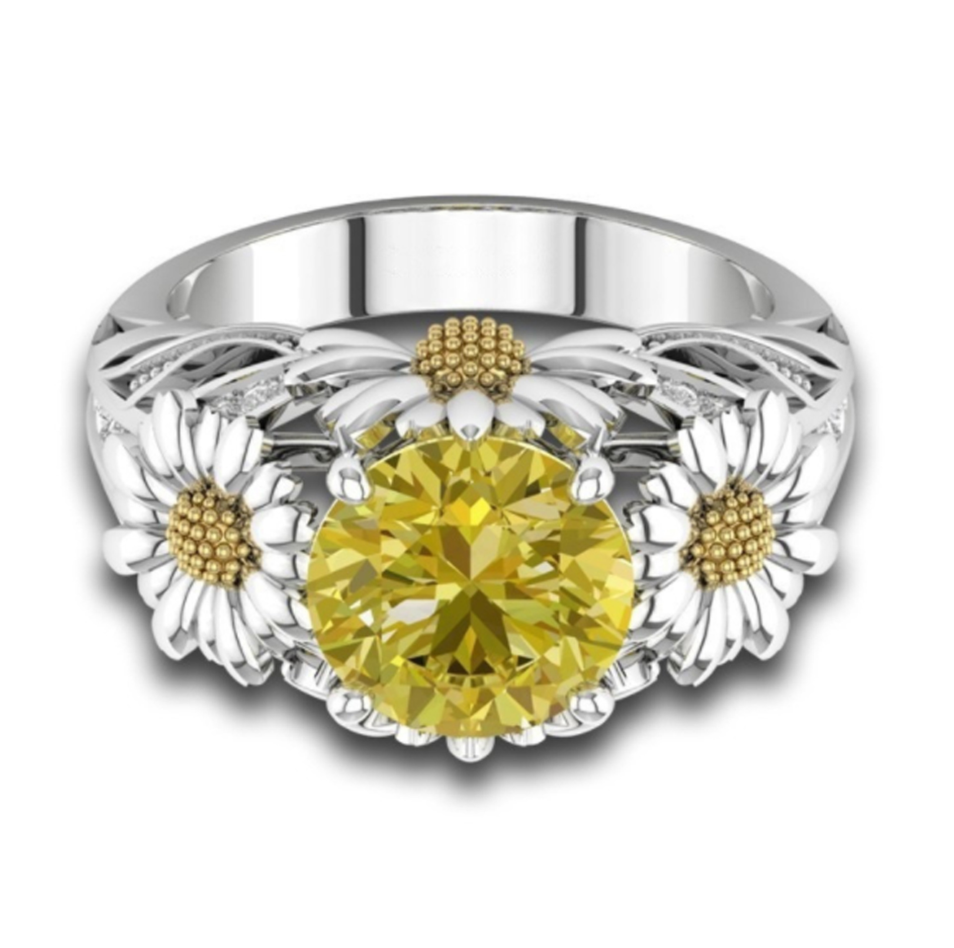 SILVER SUNFLOWER RING 6