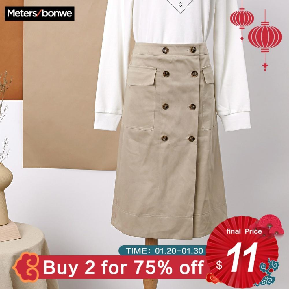 Metersbonwe printemps femmes tissé jupe bureau dame angleterre Style jupe droite taille haute à carreaux boutons Midi jupe OL Ou