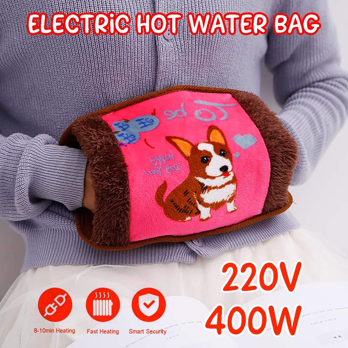 Электрический зимний подогреватель для рук, бутылка для горячей воды, ручная зарядка, электрическая сумка для горячей воды с случайным рису...