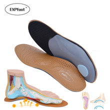 3D Premium healthy Leather orthotic insole for Flatfoot High Arch Support orthopedic Insole Insoles men and women shoes(China)