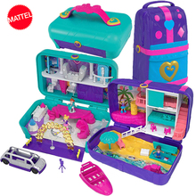 Original Mattel Polly Tasche Mädchen Haus Puppen Große Millionen Welt Schatz Box Luxus Auto Reise Anzug Mädchen Spielzeug Große Tasche welt