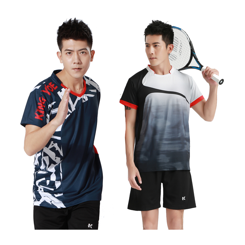 Badminton Shirts Men Tennis Outdoor Sports O-Neck Tops Running Workout Short Sleeves Quick Dry Print Training Tee