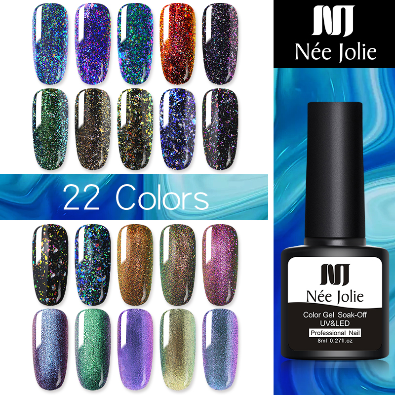 NEE JOLIE 8ml Chameleon Gel Polish All For  Semi Permanent Vernish Top Coat UV LED Gel Varnish Soak Off Nail Art Gel