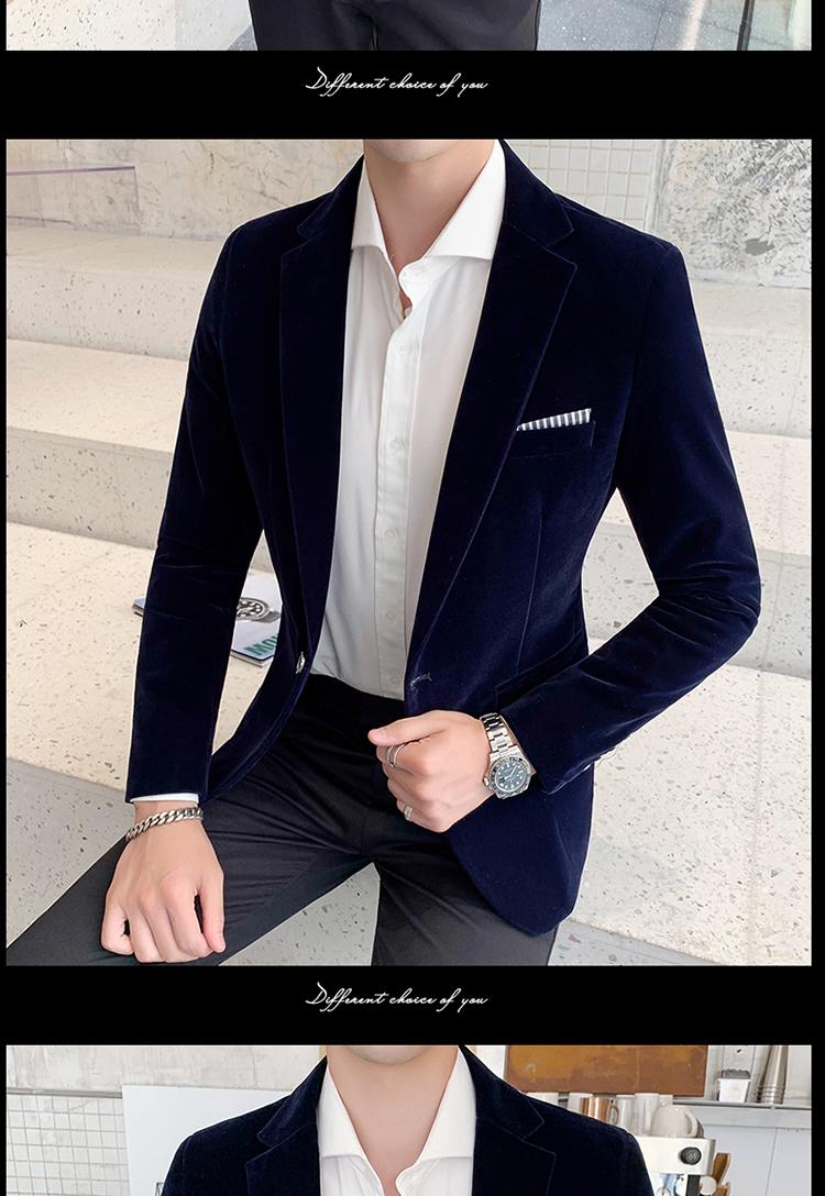 Hca615a0684734661a93942cd54e37667y - Autum Velvet Wedding Dress Coat Mens Blazer Jacket Fashion Casual Suit JacketStage DJ Men's Business Blazers Veste Costume Homme