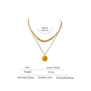 Yhpup Temperament Layered Porträt Anhänger Halskette für Frauen Edelstahl Charme Metall Textur Choker Halskette Schmuck Geschenk