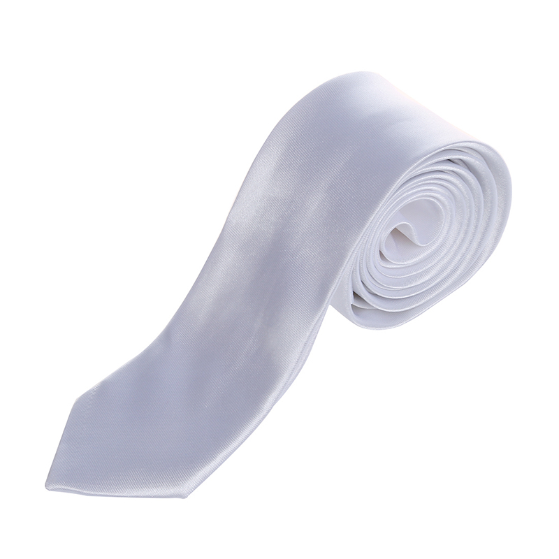 NEW-Unisex Casual Necktie Skinny Slim Narrow Neck Tie - Solid White