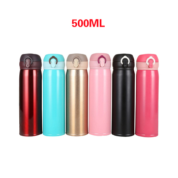 500ml Portable Thermoses For Hot Water Bottle Stainless Steel Vaccum Flasks Coffee Tea Mugs Tourist Kettle Thermo Cup With Lids image