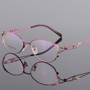 Image 4 - HOTOCHKI Alloy Elegant Women Glasses Frame Female Vintage Optical Glasses Plain Eye Box Eyeglasses Frames Myopia Eyewear