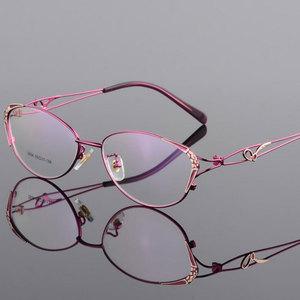 Image 4 - HOTOCHKI Legering Elegante Vrouwen Glazen Frame Vrouwelijke Vintage Optische Glazen Vlakte Oog Doos Brillen Frames Bijziendheid Eyewear