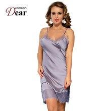 Comeondear משי סאטן לילה שמלת תחרה כתונת לילה נשים lenceria סקסי 5XL בתוספת גודל הלבשת לנשימה Nuisette Femme RB80772