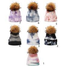 Зимняя теплая вязаная шапка унисекс со съемным пушистым помпоном