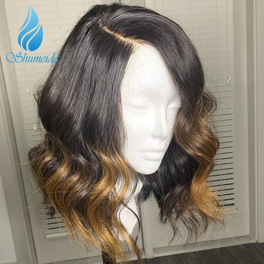 13*6 Ombre Color Lace Front Human Hair Wigs Cheap Short Brazilian Remy Hair Deep Wave Glueless Lace Wig With Baby Hair