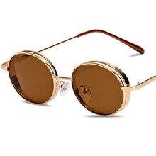 New Arrival 2019 Steampunk Round Sunglasses Men Fashion Red Purple Yellow Goggles Shades For Women Sun Glasses UV400 1944