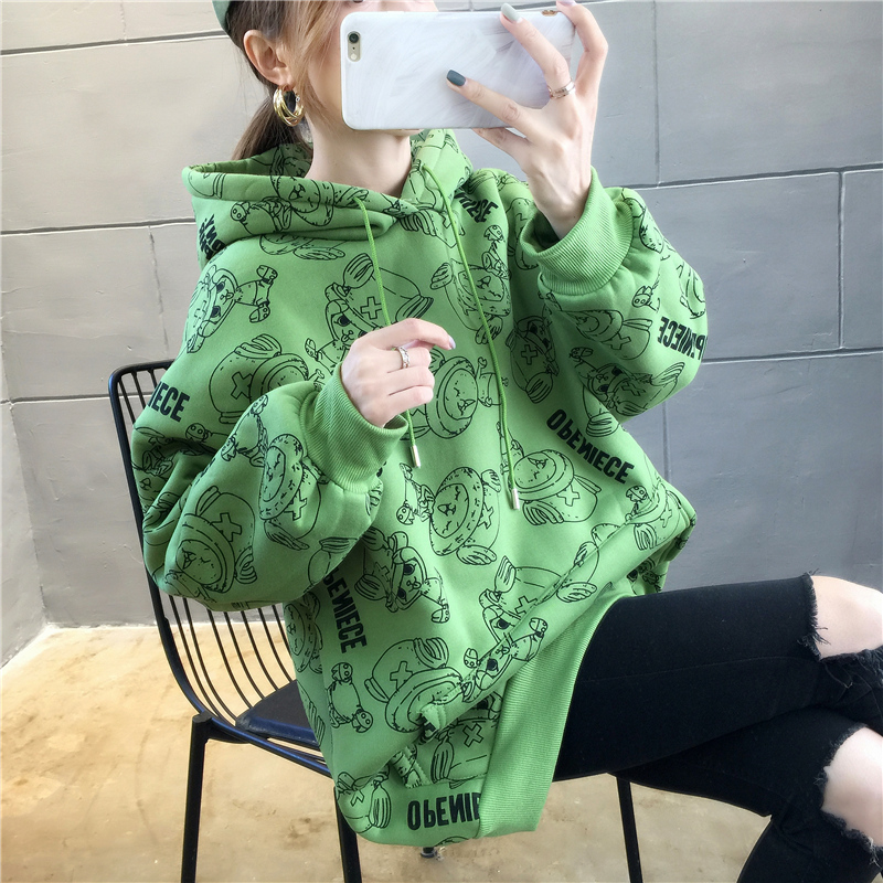 Anime One Piece Hoodie Women Girls Harajuku Orange Avocado Kpop Sweatshirt Tony Tony Chopper Printed Hooded Oversized Hat Coat