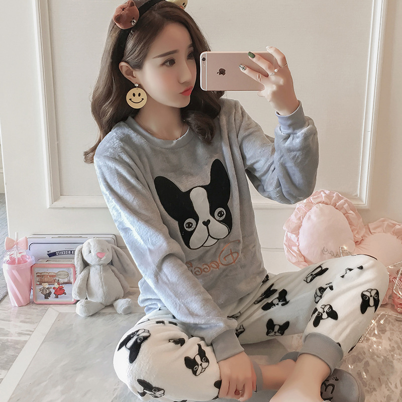 Coral Velvet Pajamas Women's Autumn & Winter Long Sleeve Thick Plus Velvet Korean-style Cute Flannel-Outer Wear Homewear Set