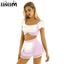Women Lovely Scotland School Girl Cosplay Uniform Sexy Adult Baby Maid Apron Skirt Outfit Sissy Babydoll Lolita Roleplay Costume