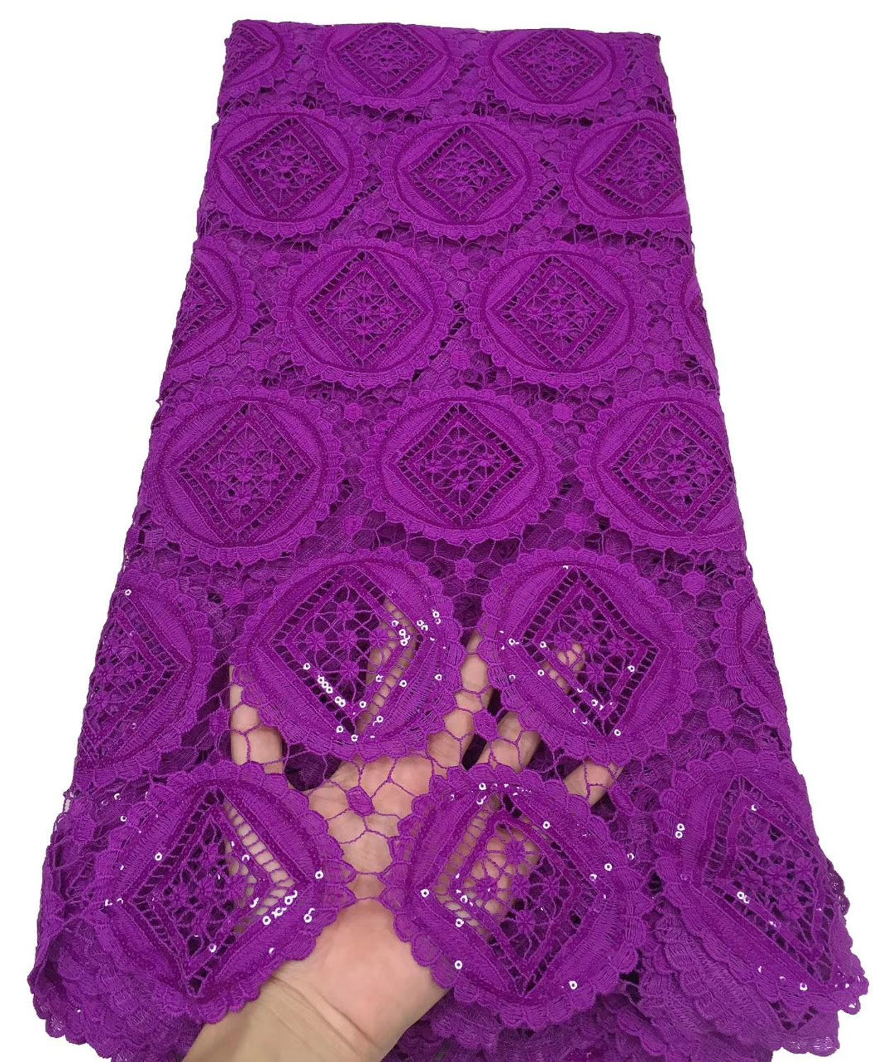 Gorgeous Nigerian Tulle French Net Lace Embroidered African Cord Lace Fabric With Sequins For Bridal TS9097