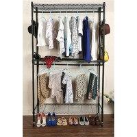 2Tier Simple Metal Iron Coat Rack Floor Standing Clothes Hanging Storage Shelf Clothes Hanger Hanger Shelf