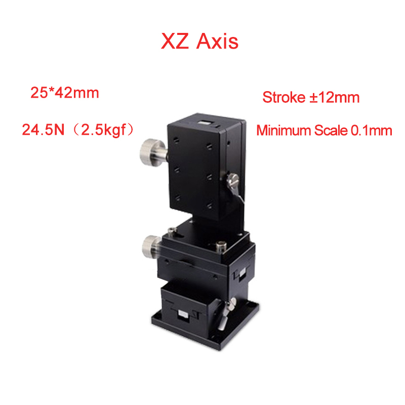XZ Axis 25*42 Manual Displacement Platform Micrometer Sliding stage Steel ball guide PLWE2542