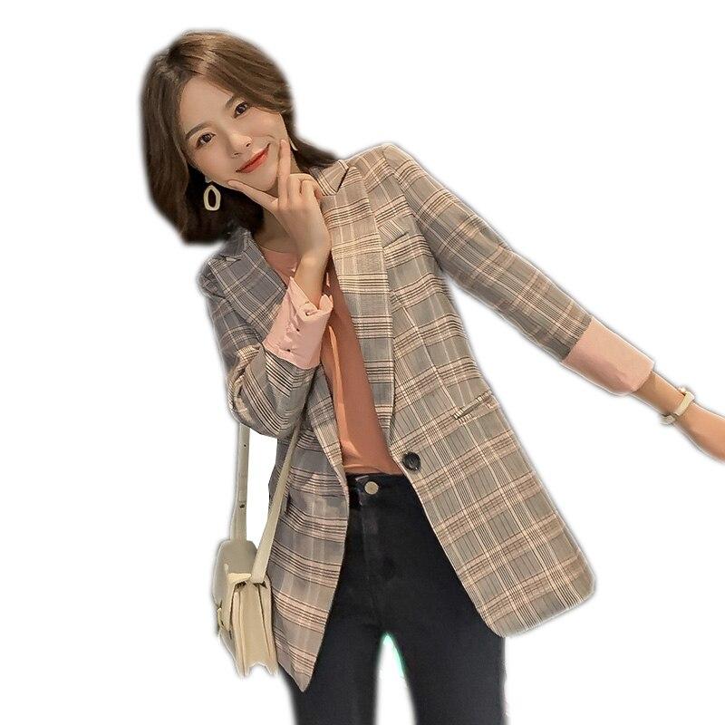 Vintage Notched Plaid Women Spring Blazer New Autumn Jackets Female Retro Suits Coat Womens Office Work High Quality Suit Q285