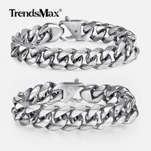 цена на Trendsmax Top Quality 316L Stainless Steel Heavy Men's Bracelet for Men Boy Silver Hand Chains Wholesale Fashion Jewelry HBM122