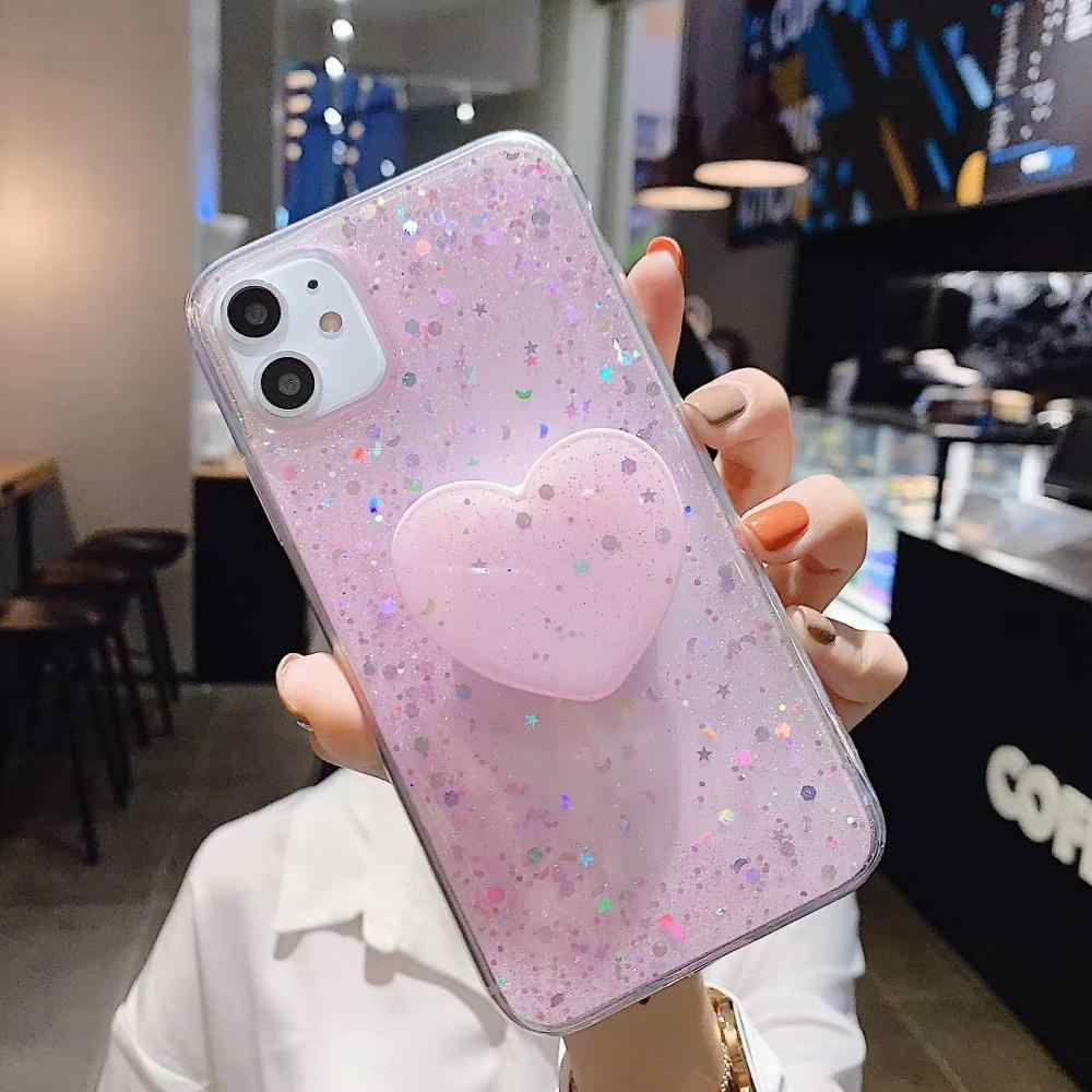 Luxury Shining DIY Bling Glitter Love Heart ฝาครอบสำหรับ iPhone 11 PROMAX XSMAX 6 6S PLUS 7 7 PLUS 8 PLUS กรณี