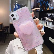 Luxury Shining DIY Bling Glitter Love Heart Stand Holder Cover For ipho