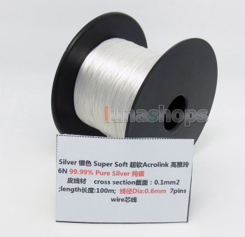 LN004429 5m 30AWG Acrolink Pure Silver 99.9% Signal Wire Cable 7/0.1mm2 Dia:0.6mm For DIY