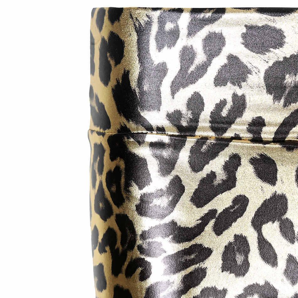 Леопардовые леггинсы женские золотые леггинсы до середины талии женские блестящие леопардовые эластичные леггинсы длиной до щиколотки модные повседневные брюки