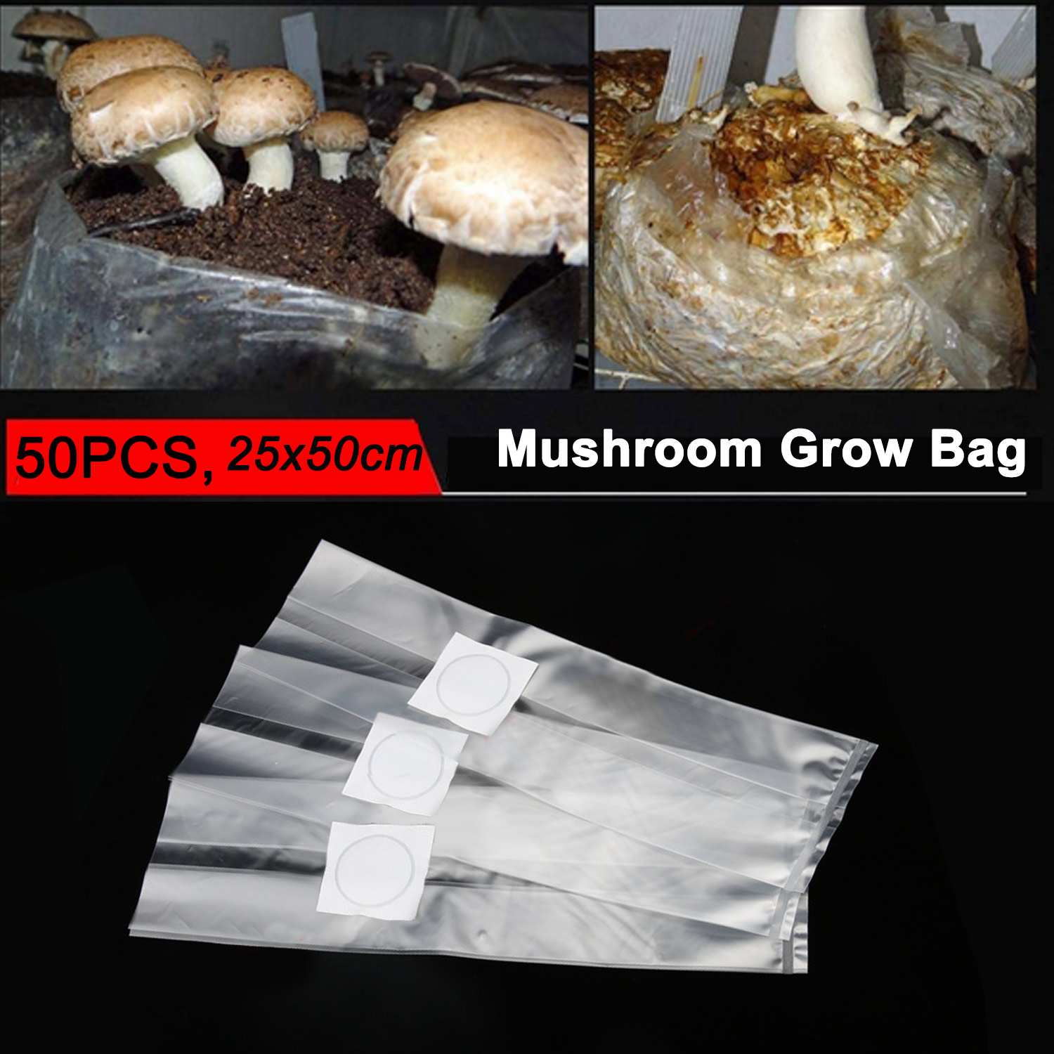 Behogar 50pcs Mushroom Spawn Growing Bag 0.2 Micron Filter Breathable 6 Mil Edible Fungus Cultivation Bag For Gardening Planting